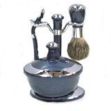 Kingsley Navy Blue & Chrome silver finished Shave Set